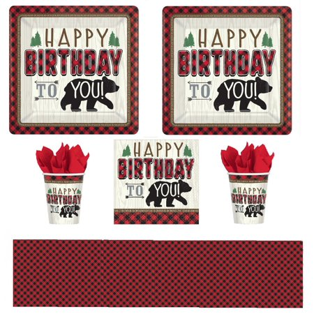 Lumberjack Bear Premium Birthday Party with Buffalo Plaid for 16](Party City Buffalo)
