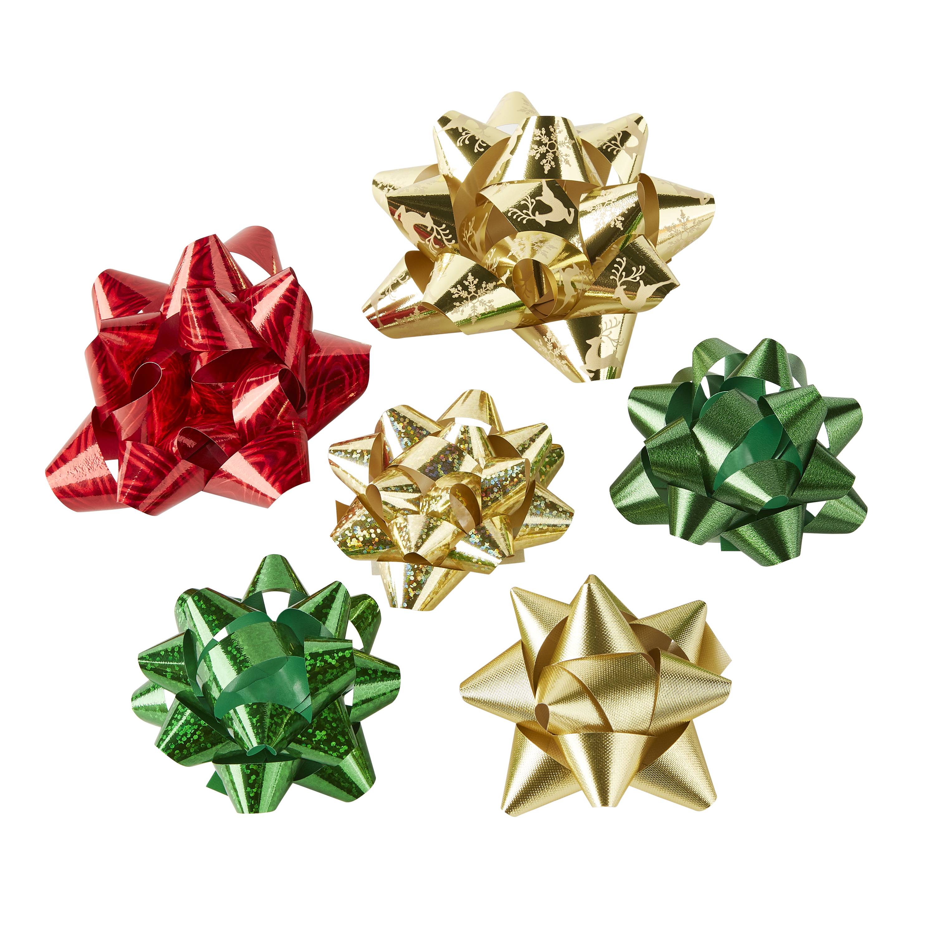 Holiday Time Assorted Red, Green, Gold Gift Bows, 20 count