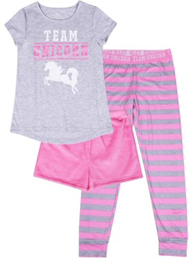 Wonder Nation Girls Exclusive 4-16 & Plus 3-Piece Pajama Set with Fuzzy Shorts, Super Soft Pants & Matching Graphic Tee