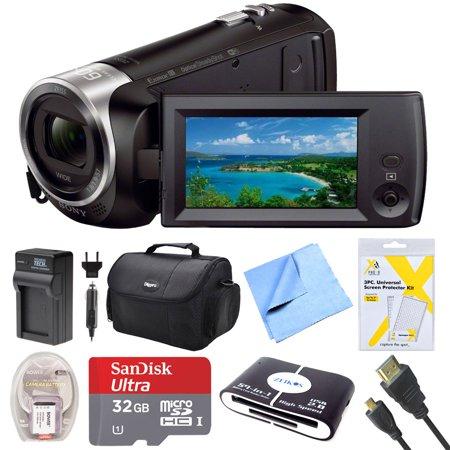 Digital Video Recording Card (Sony HDRCX440B HDR-CX440B HDR-CX440/B CX440 HD Video Recording Handycam Camcorder Bundle With Deluxe Bag, 32GB MicroSDHC Memory Card, AC/DC Charger, HDMI Cable, Battery Pack, and More)