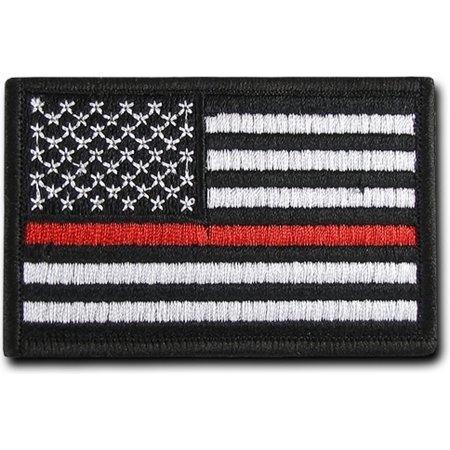 """RapDom USA Flag Canvas H&L Velcro-Back Patch [2-Pack - Thin Red Line - 3x2""""]"""