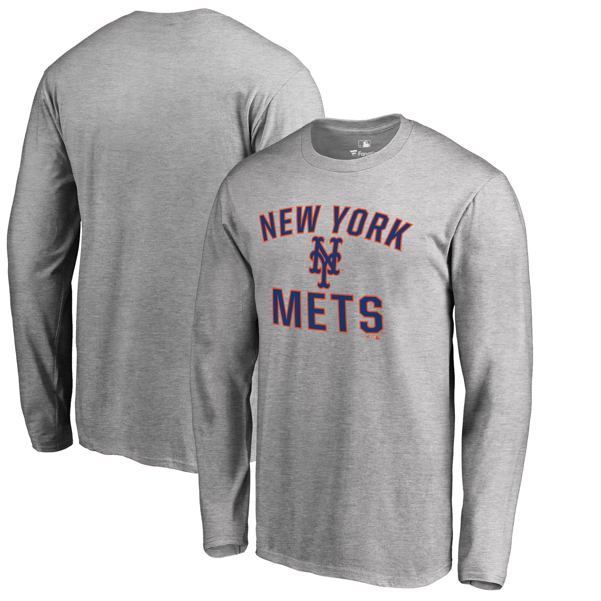 New York Mets Fanatics Branded Victory Arch Long Sleeve T-Shirt - Heathered Gray