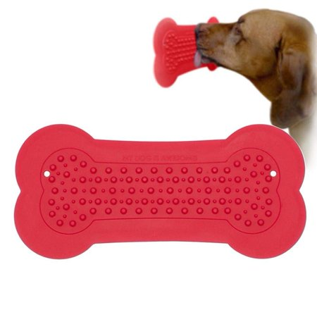 LNKOO Lick Pad Dog Grooming Distraction Device - Keep Your Dog Happy and Safe Bath Buddy Lick Pad - Dog Peanut Butter Pad/Mat for Shower - Dog Bath Grooming Accessories-Red