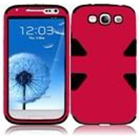 Dynamic Hybrid Tuff Gel Hard Case for Samsung Galaxy S3 i9300 - Black/Red