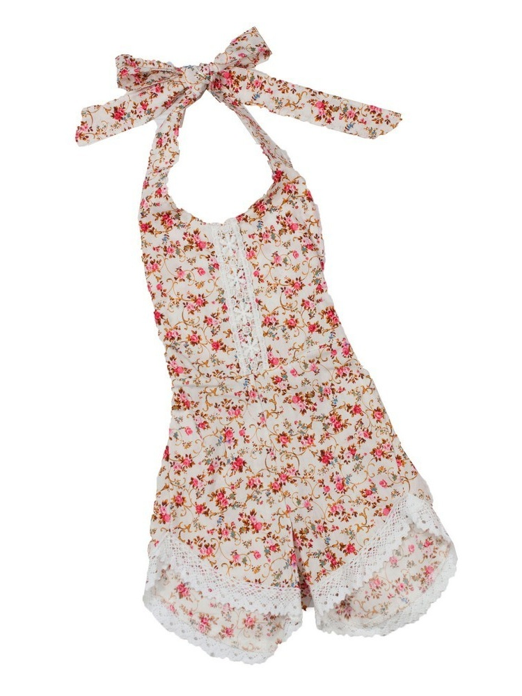223d3eead Little Girls Ivory Lavender Floral Print Lace Trim Halter Tie Style ...