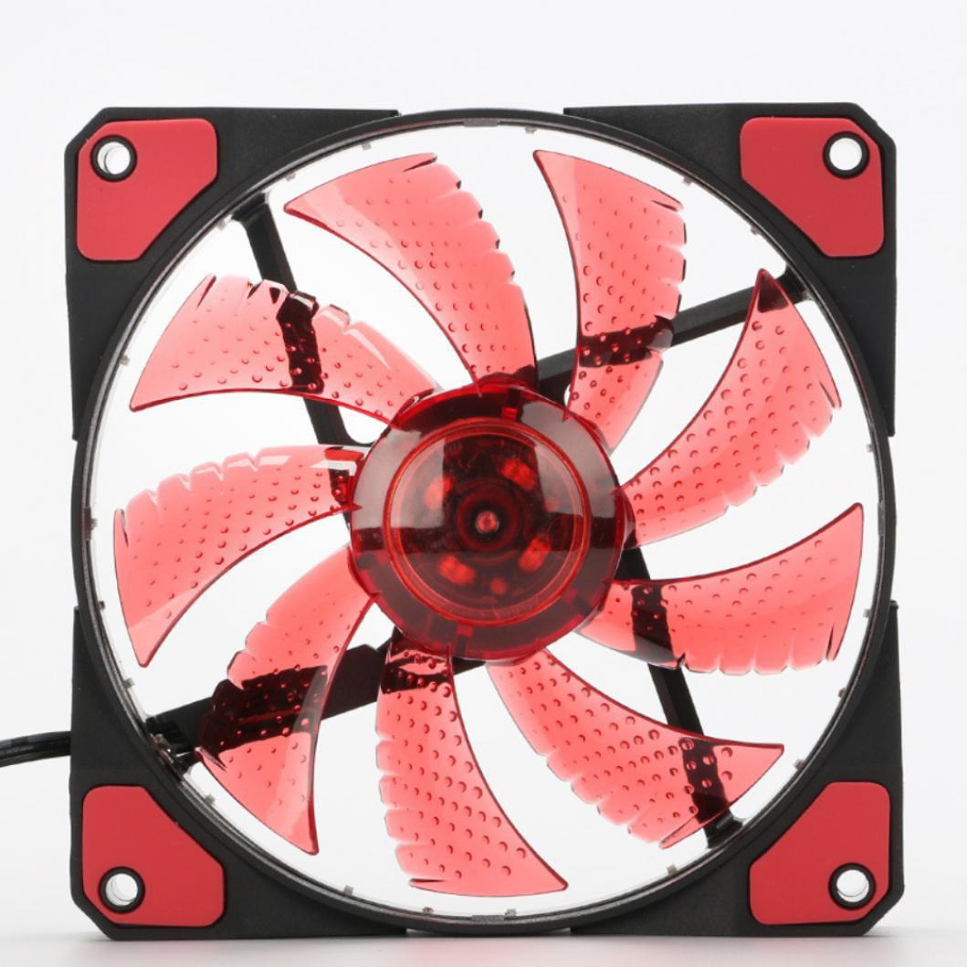 12x12cm 12V 15 LED Ultra Silent Computer PC Case Cooling Cooler Heatsink Fan USA