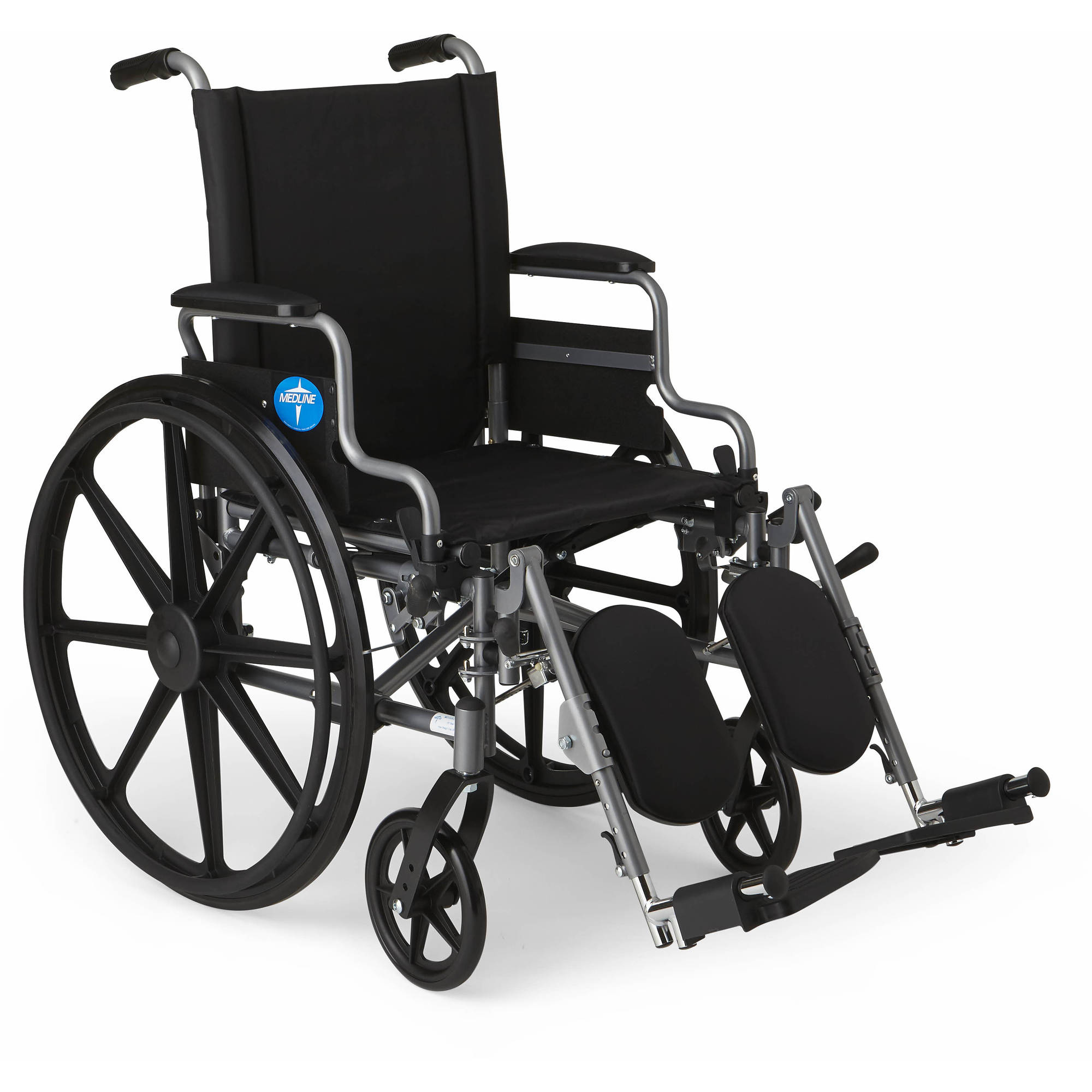 Medline K4 Basic Lightweight Wheelchair, 18 Wide Seat, Desk-Length Arms, Elevating Leg Rests
