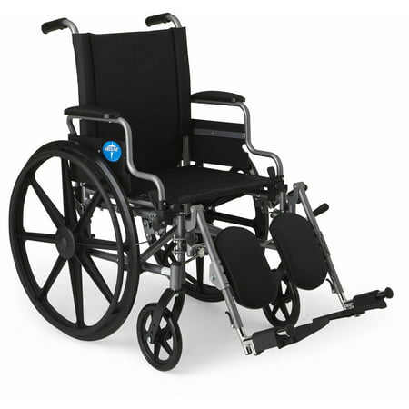 Medline K4 Basic Lightweight Wheelchair, 18 Wide Seat, Desk-Length Arms, Elevating Leg (Best Electric Wheelchair Uk)