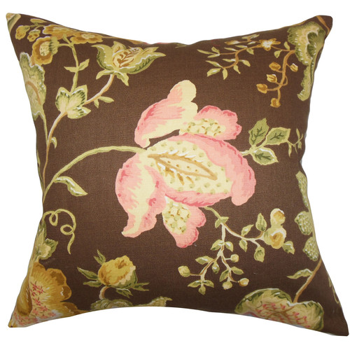 The Pillow Collection Kelila Floral Linen Throw Pillow