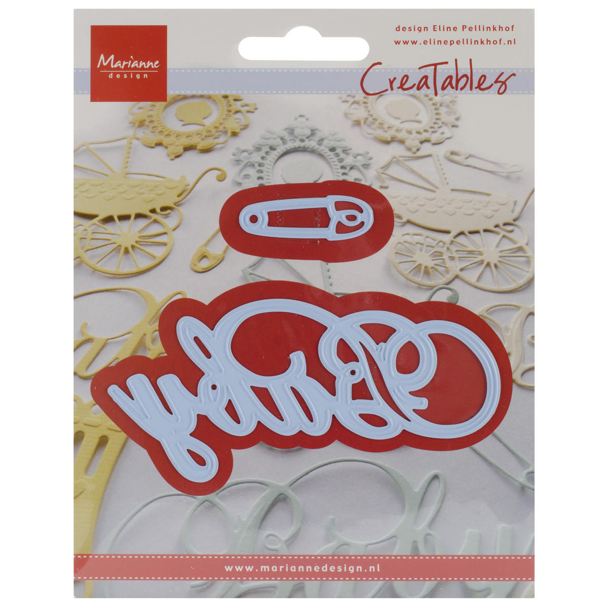 "Marianne Design Creatables Dies-Baby Text & Safety Pin, 4""X2"" & 1.5""X.5"""