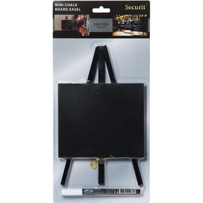 Securit MNI-BL-KR-1 Table Chalkboard Easel & Marker, Black