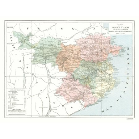 Map Of Spain To Color.International Map Gerona Province Spain Pompido S Atlas 1913
