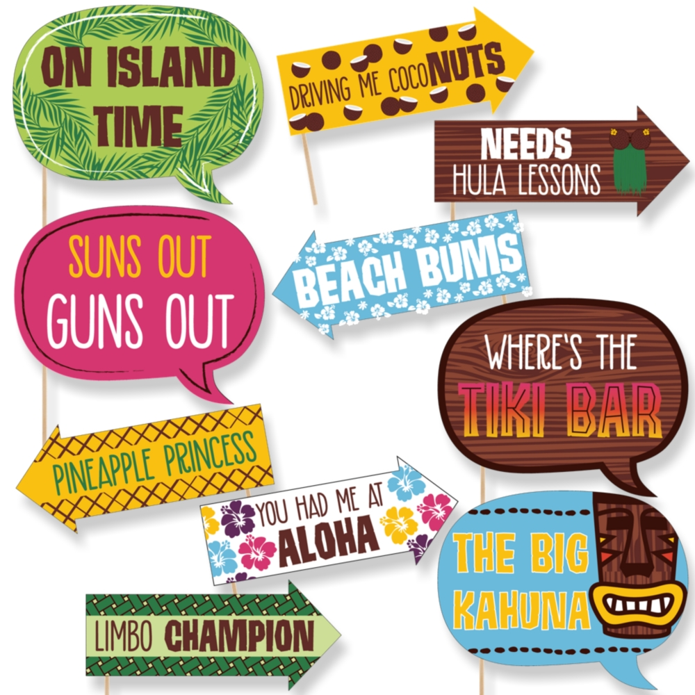 Funny Tiki Luau - Tropical Hawaiian Summer Party Photo Booth Props Kit - 10 Piece