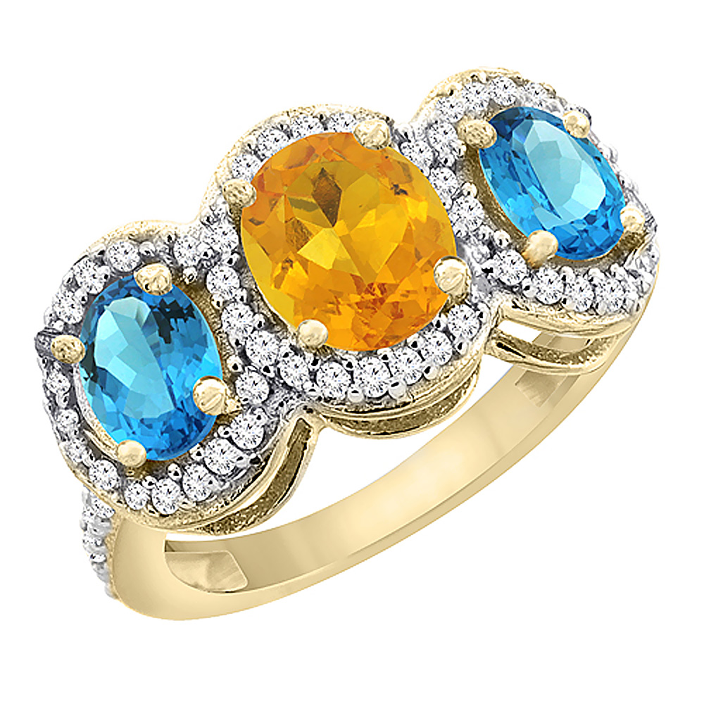 14K Yellow Gold Natural Citrine & Swiss Blue Topaz 3-Stone Ring Oval Diamond Accent, size 5 by Gabriella Gold