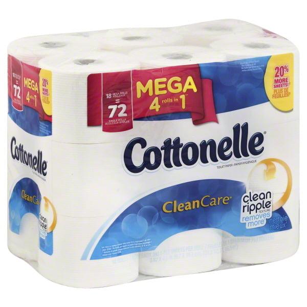 Cottonelle Toilet Paper, CleanCare, 18 Mega Rolls by Generic