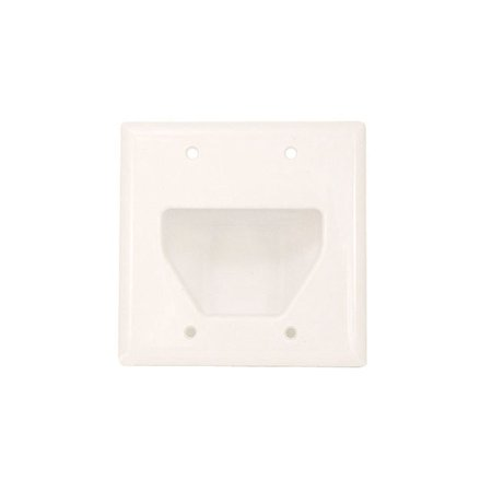Gang Recessed Cable Plate (Datacomm Electronics 45-0002-WH 2-Gang Recessed Cable Plate,)