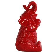 UTC34426 Ceramic Trumpeting and Sitting Up Elephant Figurine with Arms Crossed LG Gloss Finish Red