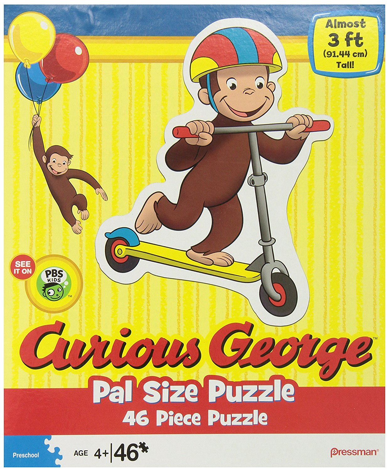 Curious George Pal Size Puzzles, Styles may vary, 46 pieces included By Pressman Toy by
