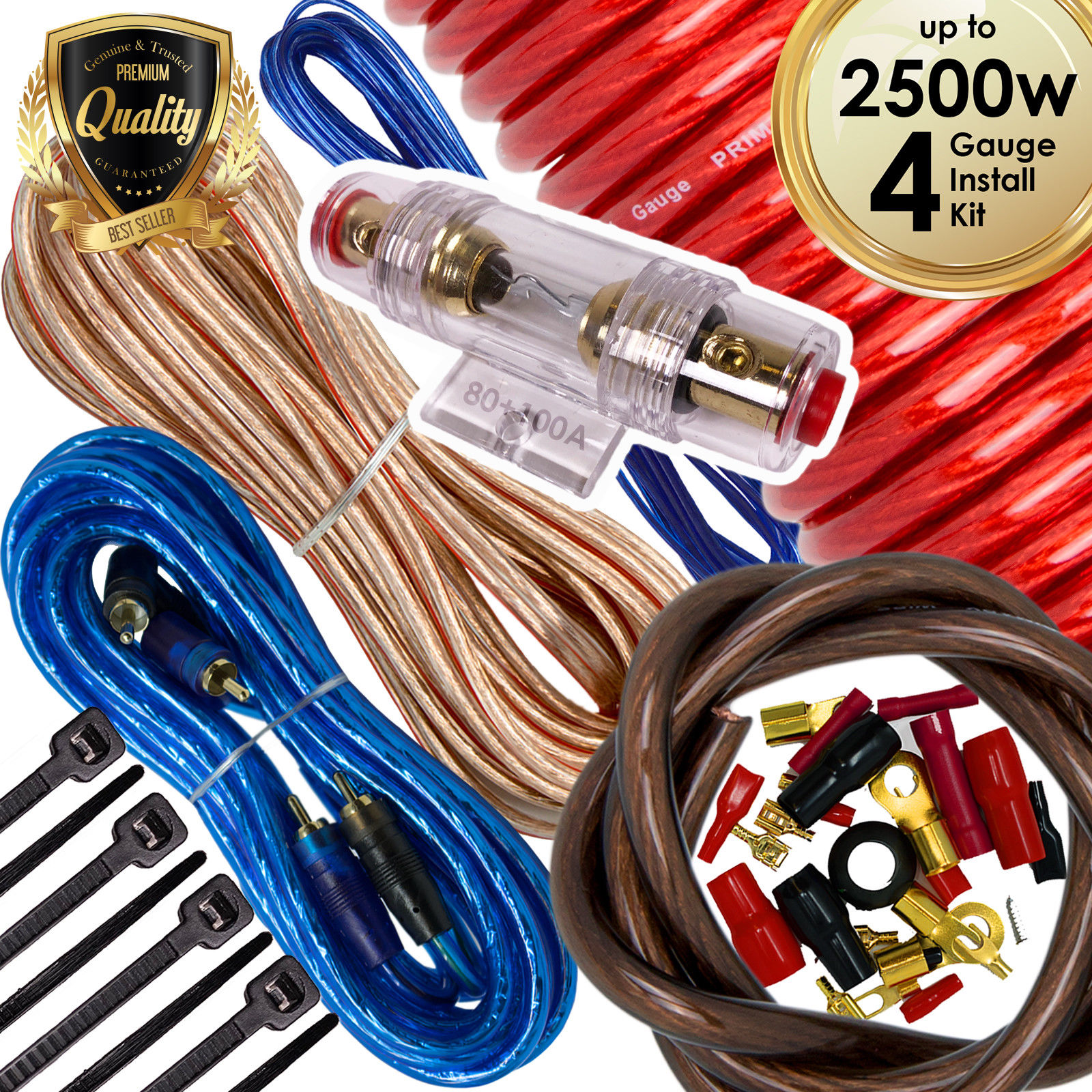 BATTERY CABLE 4 GAUGE 10FT PAIR RED TINNED WIRE 4GA MARINE BOAT ELECTRICAL WIRE
