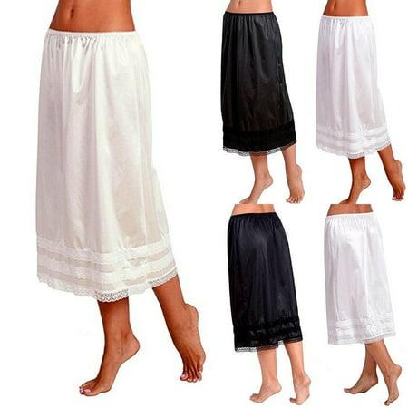 Plus Size Womens Elastic High Waist Bust Skirts Smooth Swing Dress Underskirts L-XXXL