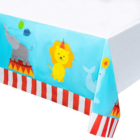 Circus Plastic Tablecloth - 3-Pack 54 x 108 Inch Disposable Table Cover, Fits Up to 8-Foot Long Tables, Circus Themed Party Decoration Supplies, 4.5 x 9 Feet](Circus Table Decorations)