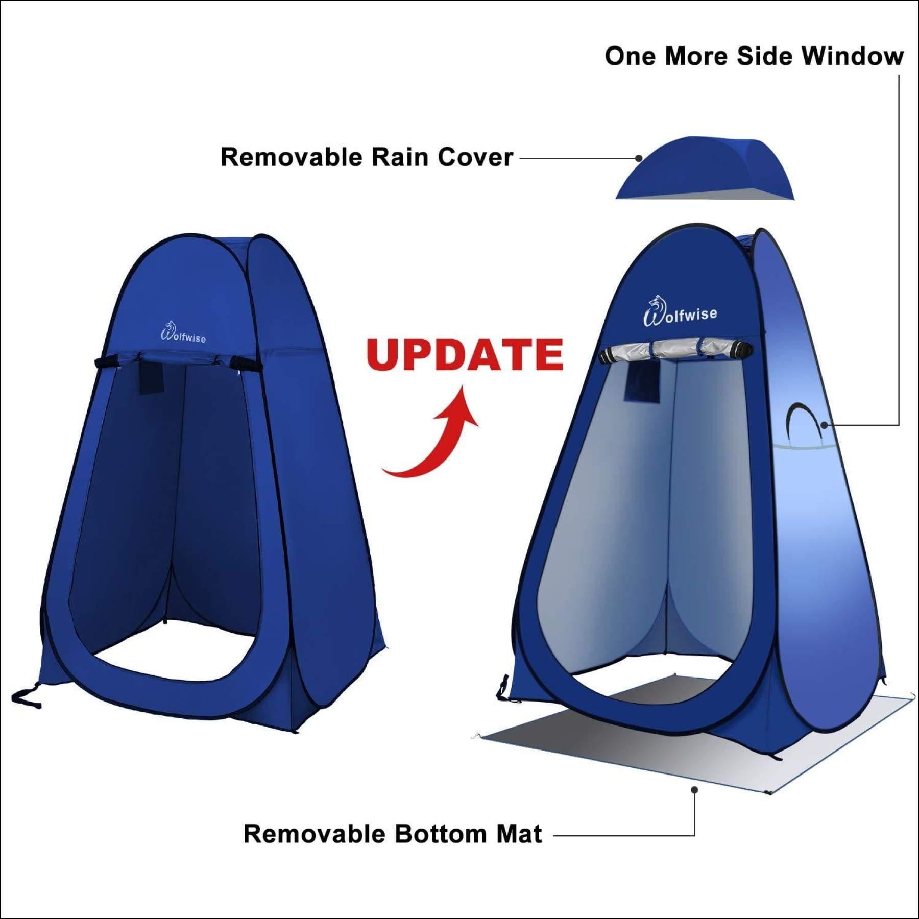 Portable with Carrying Bag WolfWise Camping Toilet Tent Pop Up Shower Privacy Tent for Outdoor Changing Dressing Fishing Bathing Storage Room Tents