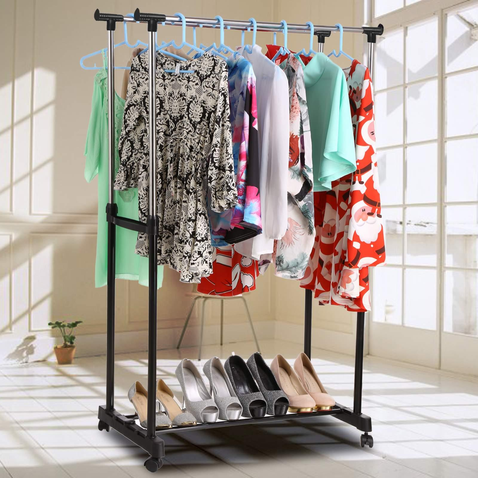 Holiday Special! Double Rail Garment Rack Adjustable Rolling Clothes Drying Rack Laundry Hanger
