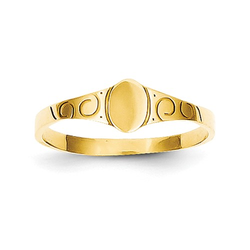 14k Yellow Gold Child's Oval Baby Signet Ring