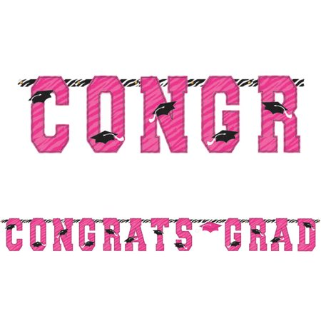 Graduation Party Pink Zebra Grad 10' Letter Banner (Each)