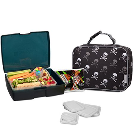 Bentology Lunch Bag and Box Set for Boys - Includes Insulated Sleeve with Handle, Bento Box, 5 Containers and Ice Pack - -