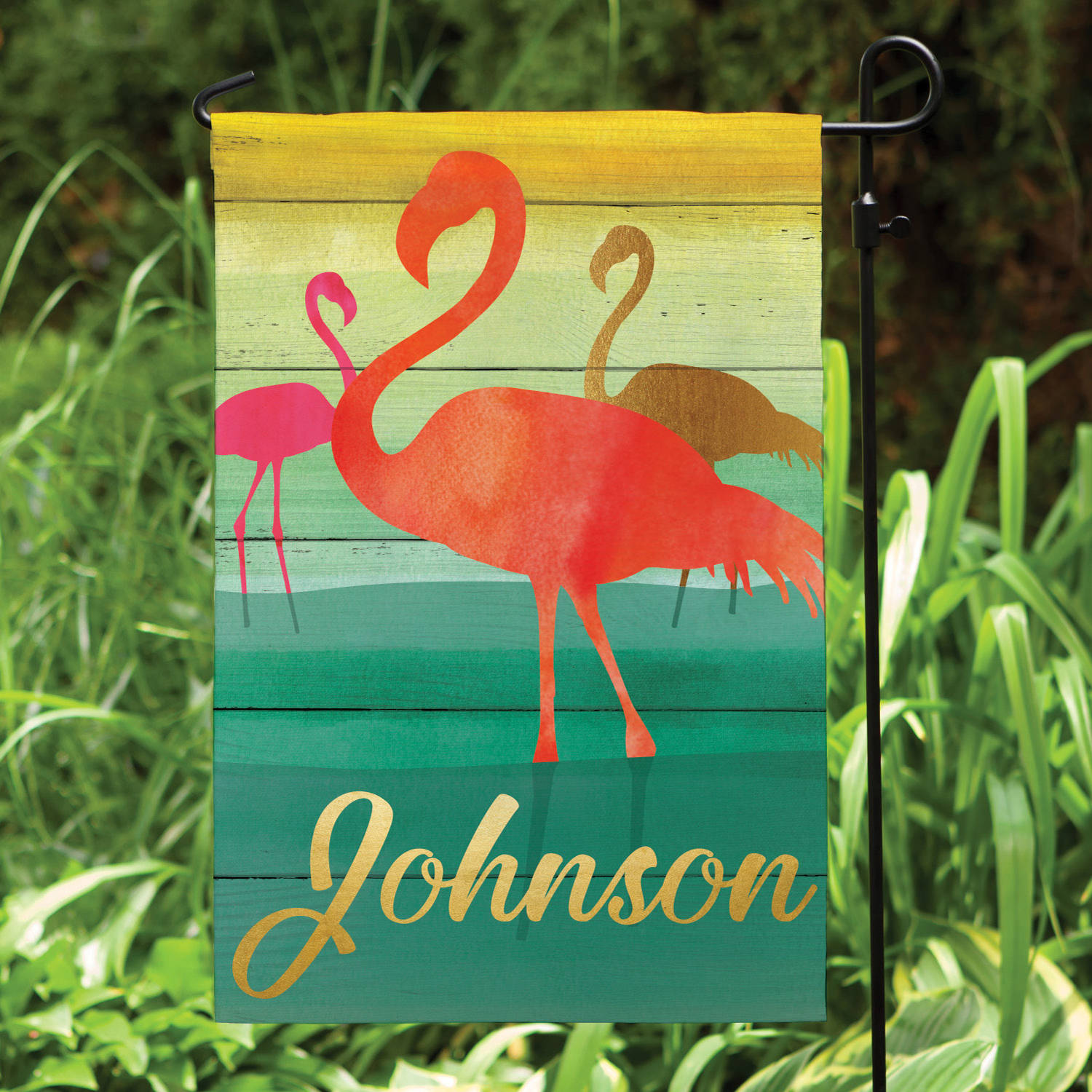 Pink Flamingos Personalized Garden Flag