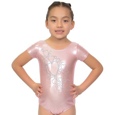 62b4cab8e6452 Kaysees - Girl s RHINESTONE Growing Hearts Mystique Leotards - Small (6)   Mystique  Light Pink - Walmart.com