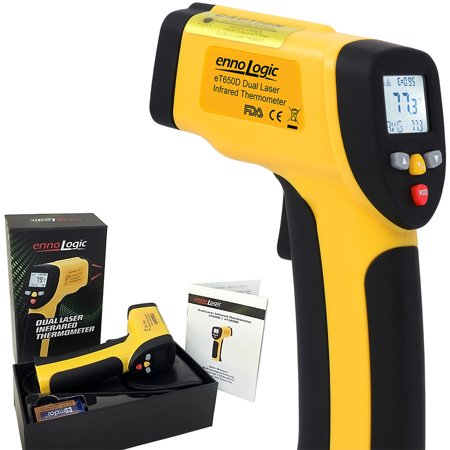 Infrared Temperature Gauge - Temperature Gun ennoLogic eT650D - Dual Laser Non-Contact Infrared Thermometer -58°F to 1202°F - Digital Surface IR Thermometer