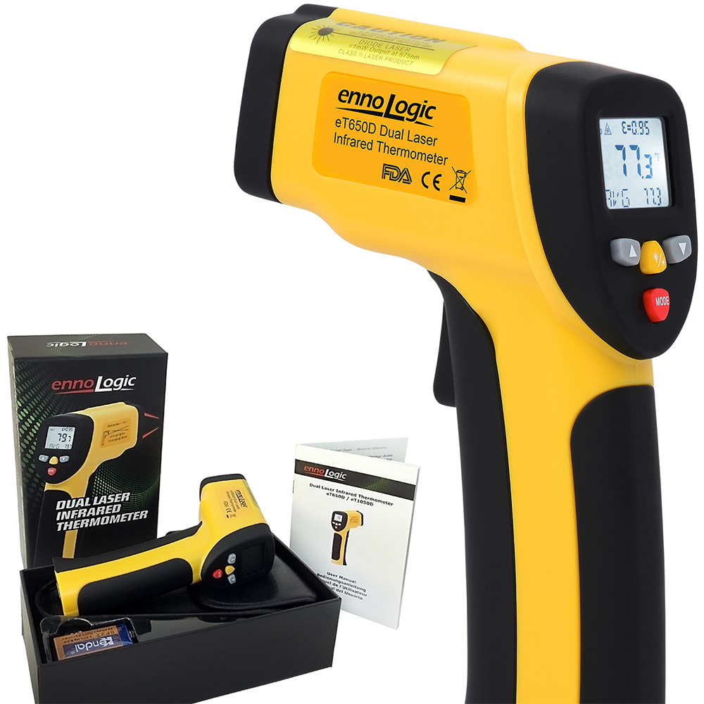 Temperature Gun ennoLogic eT650D - Dual Laser Non-Contact Infrared Thermometer -58°F to 1202°F - Digital Surface IR Thermometer