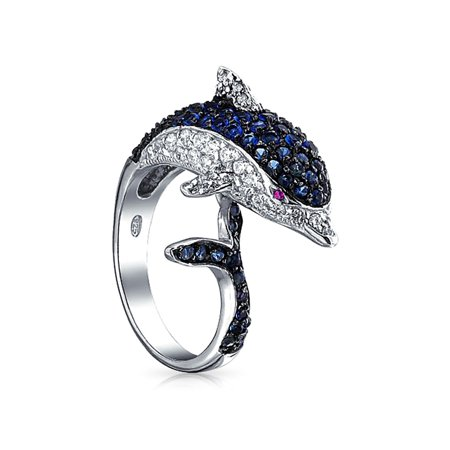 Nautical Pave Cubic Zirconia Navy Blue CZ Bypass Statement Dolphin Band Ring For Women Black Silver Plated Brass (Bypass Band Ring)