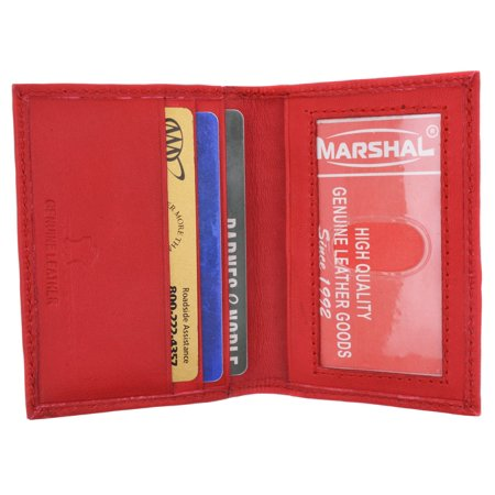 Mens Wallet Bifold Genuine Leather Slim Small Credit Card ID Holder with Front ID Licence Window - Men Small Leather