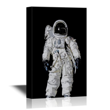 - wall26 - Canvas Wall Art - American Astronaut Wearing Pressure Suit - Gallery Wrap Modern Home Decor | Ready to Hang - 32x48 inches