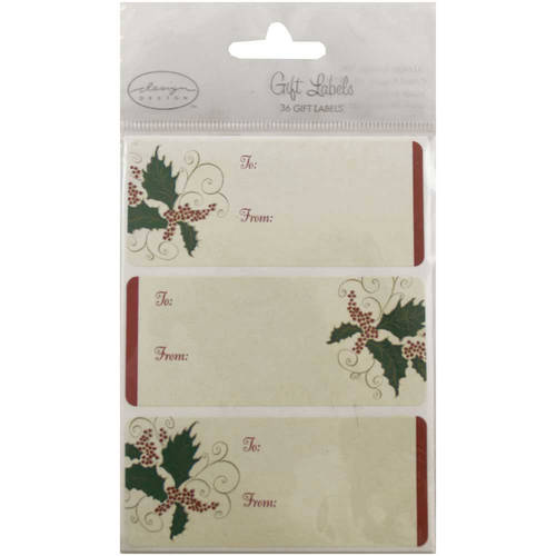 "JAM Paper, Gold Christmas Ornament Sticker Gift Tag Labels (4"" x 3""), 24 Labels per Pack"