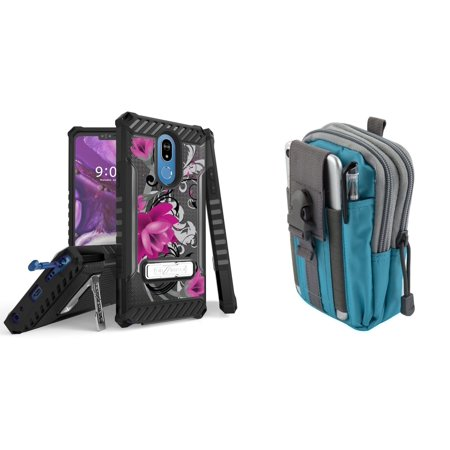 BC Tri Shield Series Compatible with LG Stylo 5 (2019) Case Military Grade Certified Rugged Cover (Lotus Vine) with Tactical MOLLE Organizer Travel Pouch (Blue/Gray) and Atom Cloth