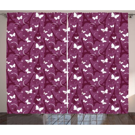 Eiffel Curtains 2 Panels Set, Abstract Composition with Towers White Butterflies and Stars Ethereal Display, Window Drapes for Living Room Bedroom, 108W X 90L Inches, Violet Plum White, by (Violet Plum)