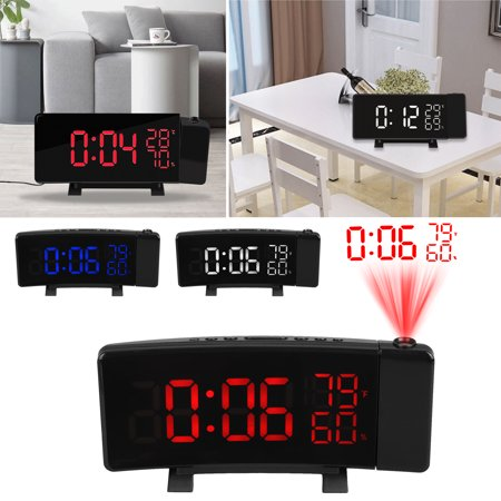 Projection Alarm Clock, Dimmable LED Curved Screen Digital Clock, FM Radio Alarm Clock, Adjustable Ceiling Sleep Timer for Kids Bedroom, Dual Alarms, 12/24 Hour, Snooze Function ()