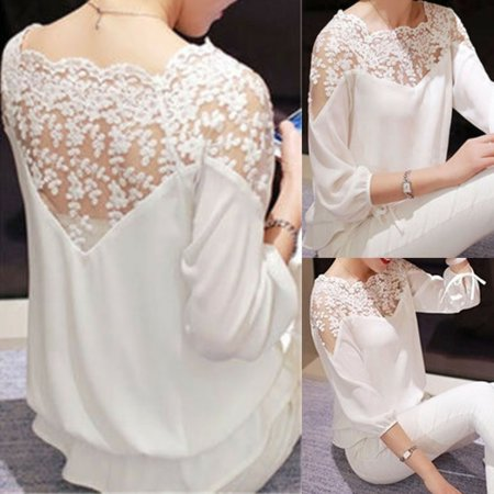 White Plush - Women's Long Sleeve Lace T Shirt Ladies Casual Loose Top Blouse Plus Size White S