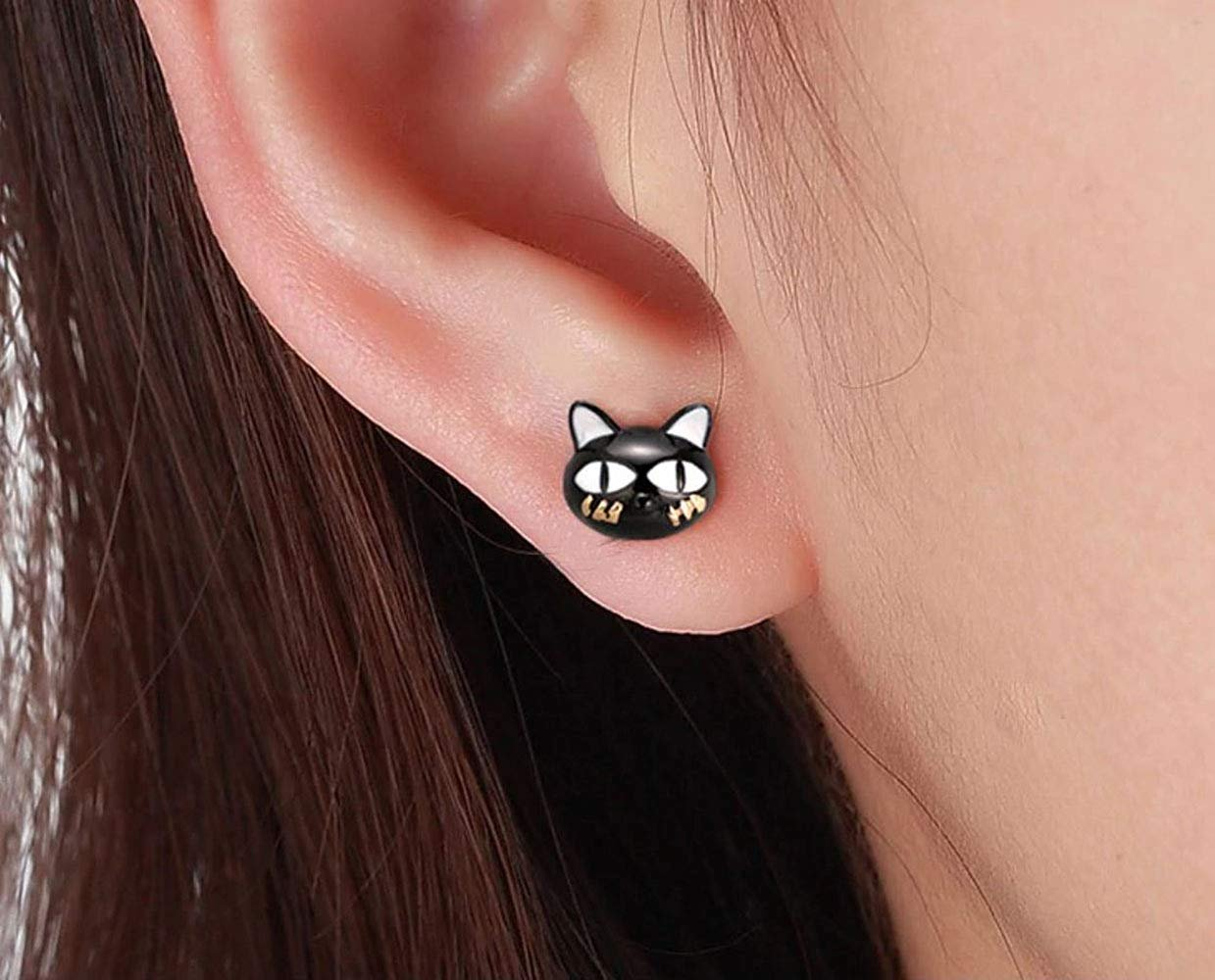 a959308b0 Ginger Lyne Collection - Ginny Black Cat Cute Kitty Kitten Stud Earrings  Sterling Silver Ginger Lyne Collection - Walmart.com