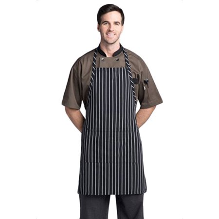 Uncommon Threads 3018-4100 Ajustable Butcher 2 Section Pocket Apron in Chalk - Butchers Stripe