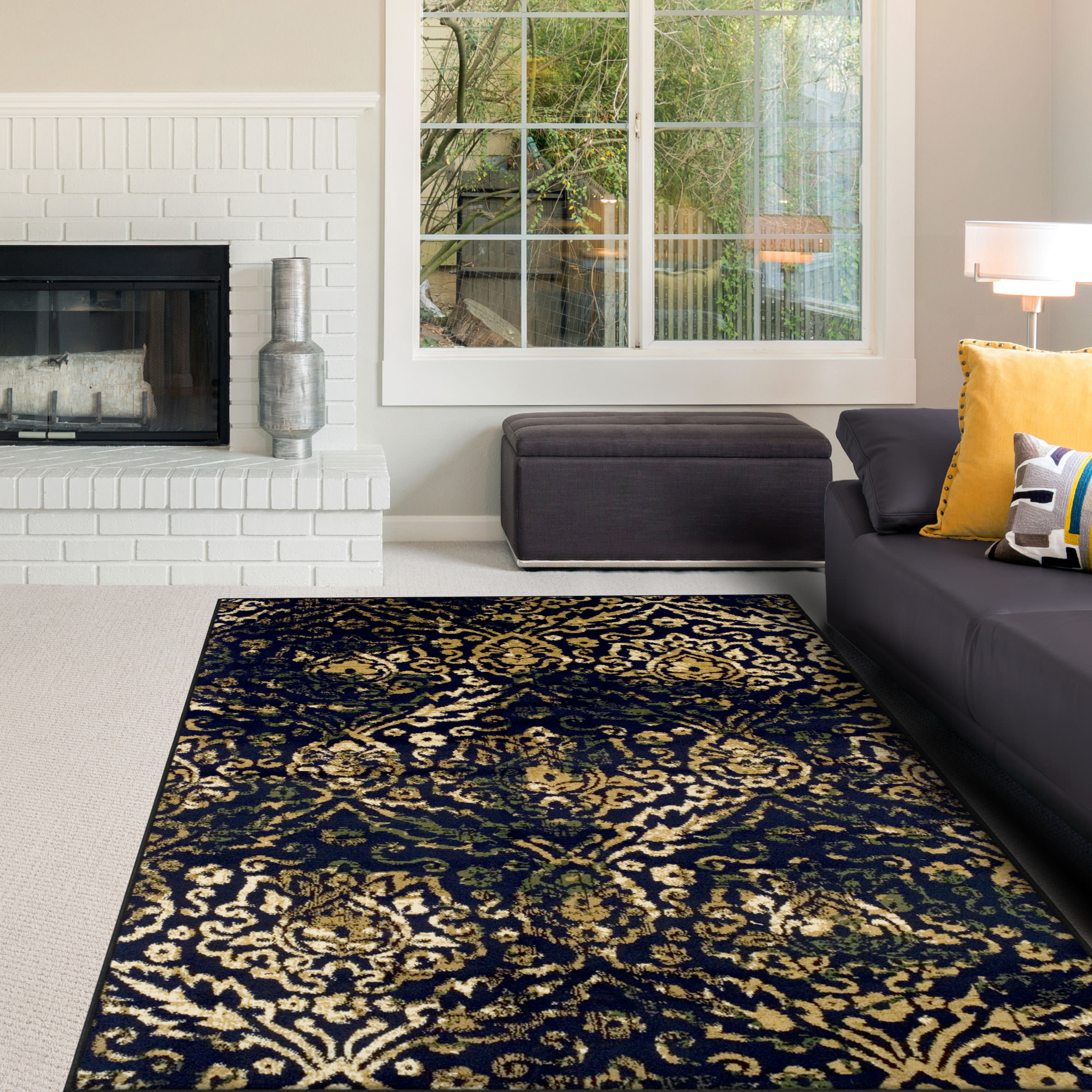 Superior Vintage Ikat Damask Pattern, 10mm Pile with Jute Backing, Moisture Resistant, Affordable Contemporary Northman Collection Area Rug