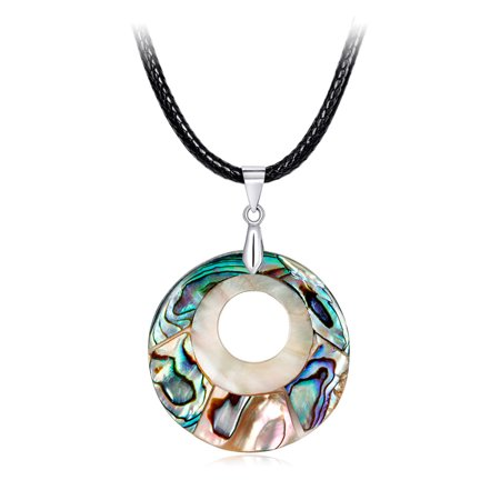Women Natural Colorful Abalone Shell Pendant Necklace Fashionable Neck Ornaments Jewelry for Ladies CA045-A