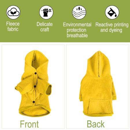 Cotton Dog Sweatshirt Hoody Pet Clothes Fleece Lined Coat w Pocket Yellow XXL - image 4 of 7