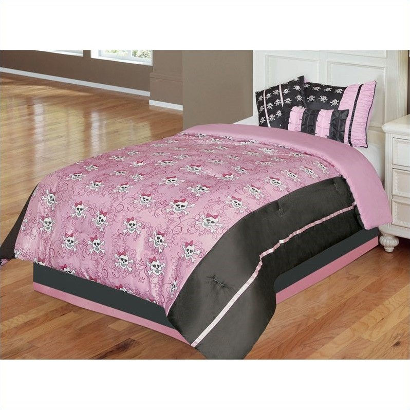 Kids Pirate Jane 5 or 6 Piece Comforter Set in Pink and Black