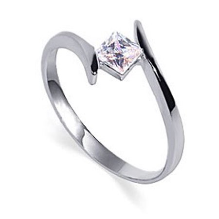 Gem Avenue 925 Sterling Silver Cubic Zirconia Solitaire Promise Ring