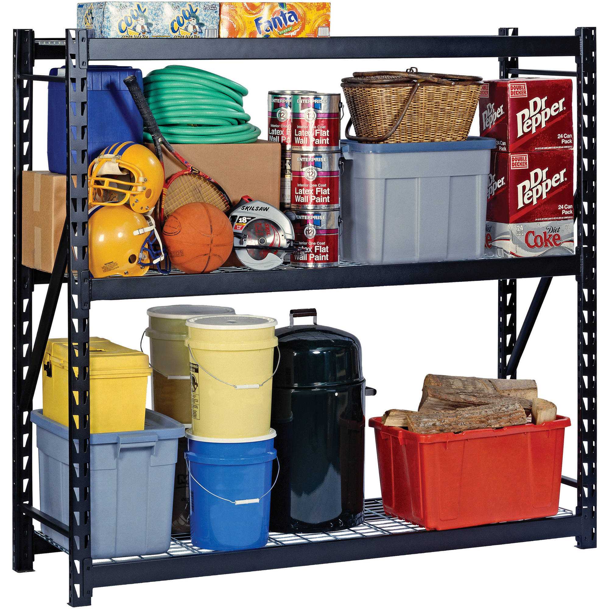 "Edsal 72""H x 72""W x 24""D Steel Welded Storage Rack, Black"